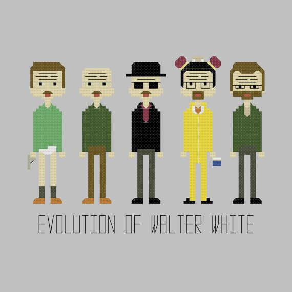 Evolution of Walter White Cross Stitch by YouMakeMeSewHappy, $5.99