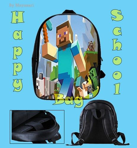 Custom School Bag - MINECRAFT Game Bag This high-quality  school bag is the perfect accessory for school children. Made from high-grade PU leather. It is the perfect way for children to carry all of t
