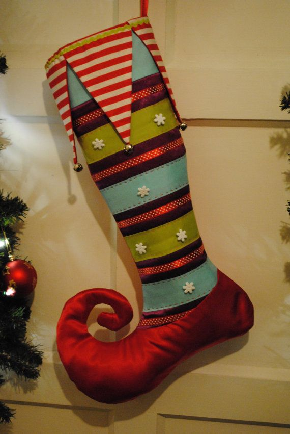 Handmade Christmas Stocking / Snowflakes & by FestiveJester, €30.00