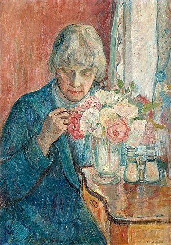 Oluf Wold Torne, Kris syr (Dam vid rosbukett ) (Kris sewing / Lady by a bouquet of roses)