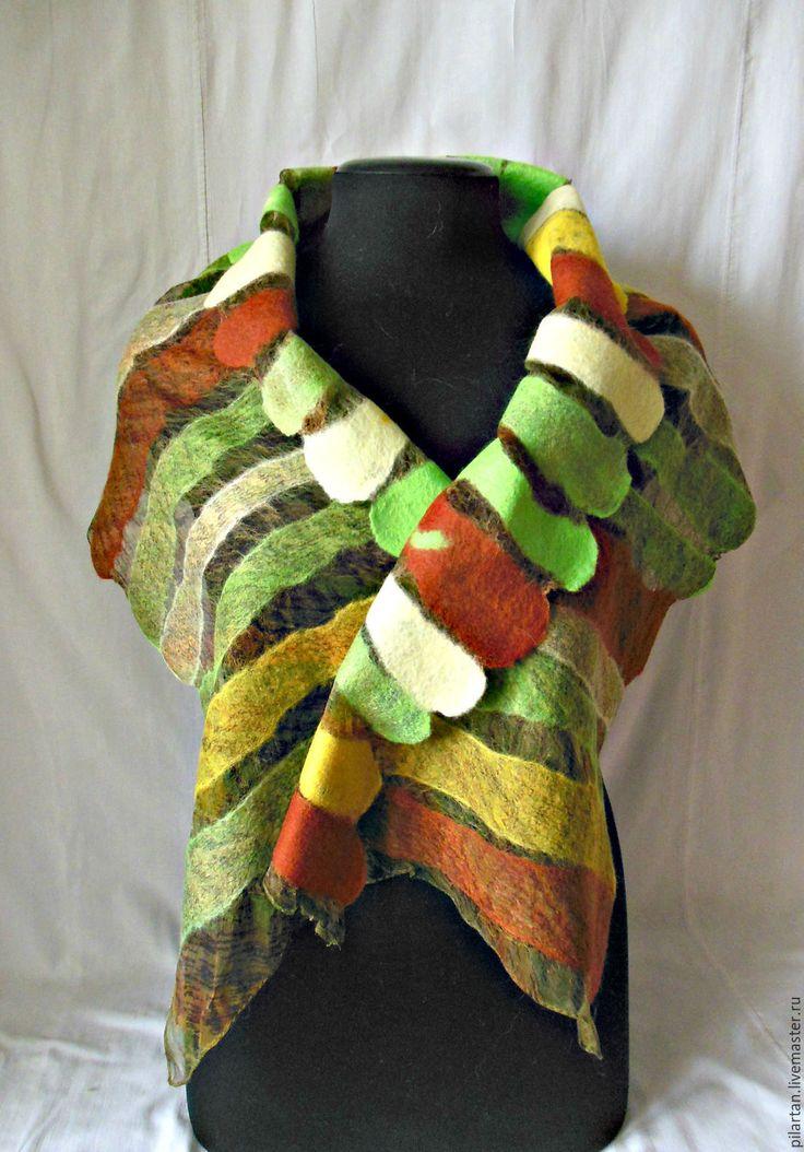 Купить шарф женский валяный яркий зеленый Яркий июнь - шарф, шерстяной шарф