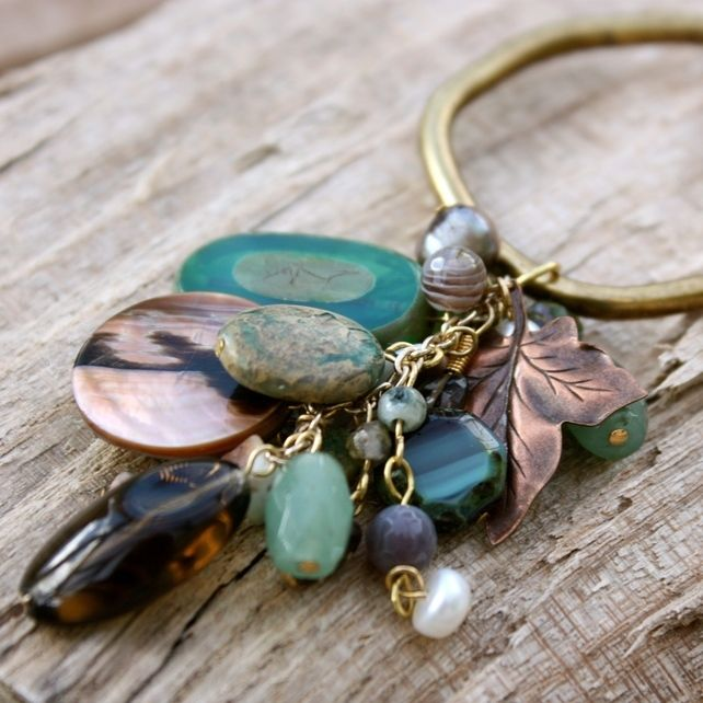 Large Antique Gold Ring with Semi-Precious Stone Cluster Necklace £35.00