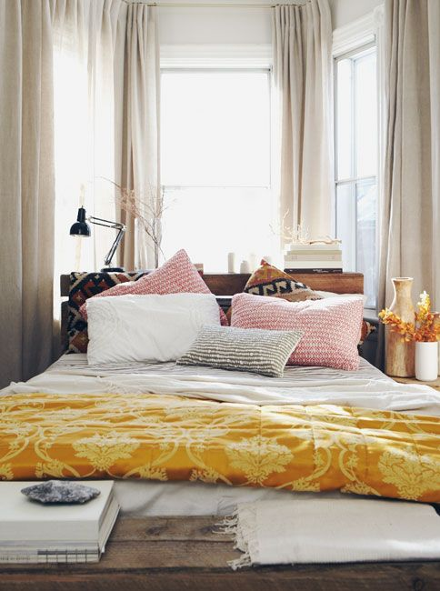 modern romantic bedroom palette of whites, pinks, and sunflower.