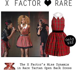 The X Factor's Miss Dynamix joined the tartan trend as member Jeanette wore Rare London's Tartan Open Back Dress http://www.rarelondon.com/taran-open-back-dress.html