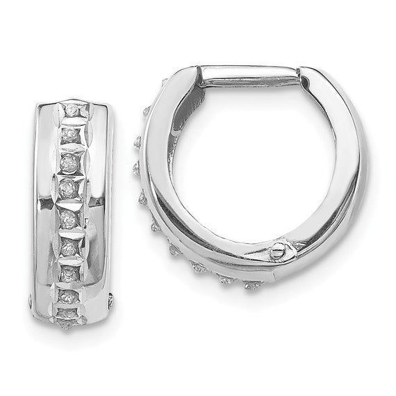 14k White Gold Plain Huggies Earrings, 14mm X 14mm
