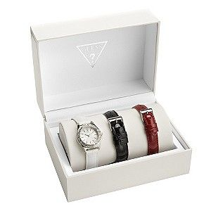 A chic, white gift box presenting a beautiful ladies' watch set from Guess. A simple watch with a sparkling, stone set bezel, set on a white, croc effect strap. Complete with stylish, interchangeable straps in black and red, this is the perfect fashion gift for her. Set exclusive to H.Samuel. [...]