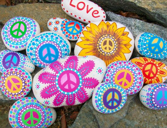 Special Daisy Peace Rock with a bag of Peace Rocks