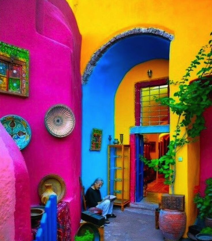Mexican Home Decor Travel Style - Not sure if I would ever be brave enough for a. Mexican Home Decor Travel Style - Not sure if I would ever be brave enough for all the bright colors - maybe in my desert dream house. World Of Color, Color Of Life, Mexican Home Decor, Mexican Decorations, Mexican Patio, Mexican Bedroom Decor, Mexican Style Homes, Mexican Garden, House Decorations