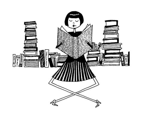 Book lover librarian // 4x6 bookworm reading illustration