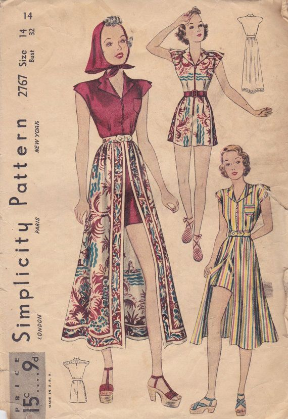 1930s Playsuit Skirt & Kerchief Simplicity 2767 vintage fashion 30s 40s pattern color illustration shorts dress skirt shirt shoes floral