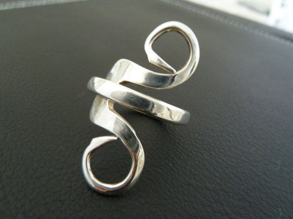 Sterling silver fork ring