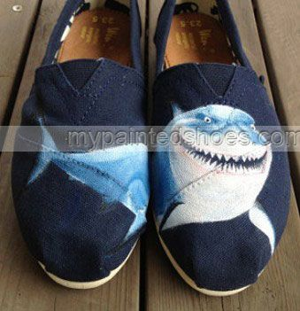 #Shark Shoes shark Painted Canvas Shoes Slip-on Painted Canvas Sh