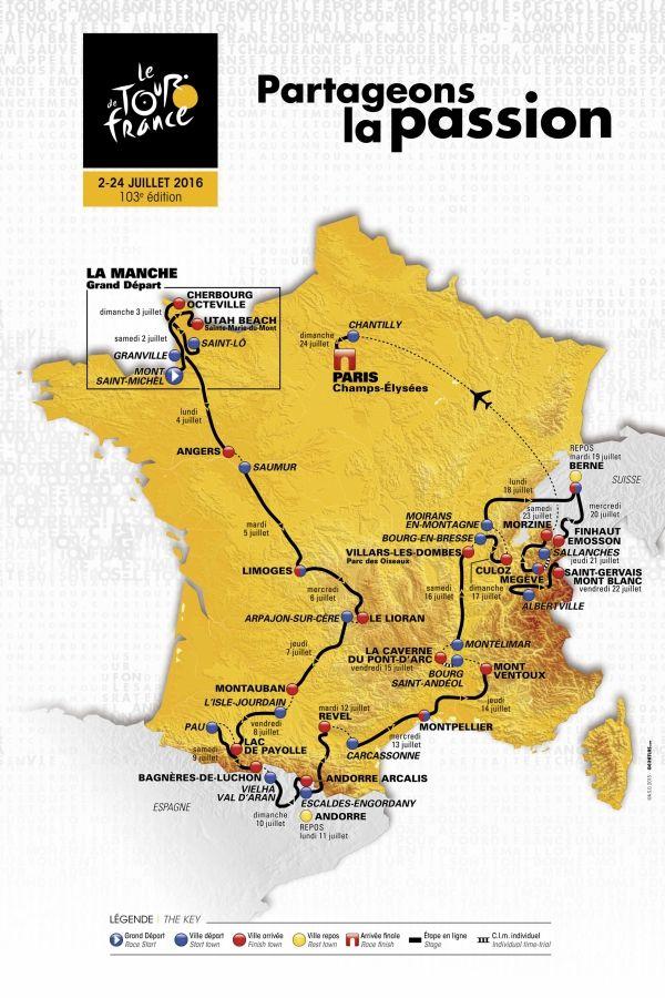 Tour de France 2016: découvrez, étape par étape, le parcours entre le Mont Saint-Michel et Paris -  La surprise a été enfin lâchée: voici le parcours du Tour de France 2016. Comme chaque année, les rumeurs s'amoncellent sur le web et les réseaux sociaux concernant les futures villes-étapes traversées par la caravane de la Grande Boucle. Souvent, ces bruits de couloir, glanés entre les conseils r&eacu