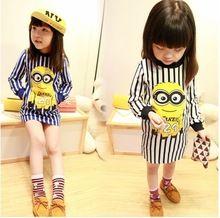 leuke kinder cartoon meisjes jurk minions stijlen van jurken in strepen