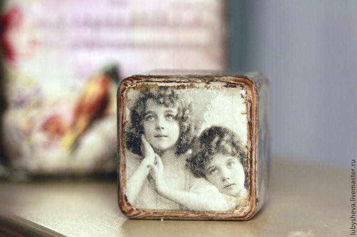 """Кубик интерьерный """"Молодость"""" - разноцветный,Декупаж,деревянные заготовки"""