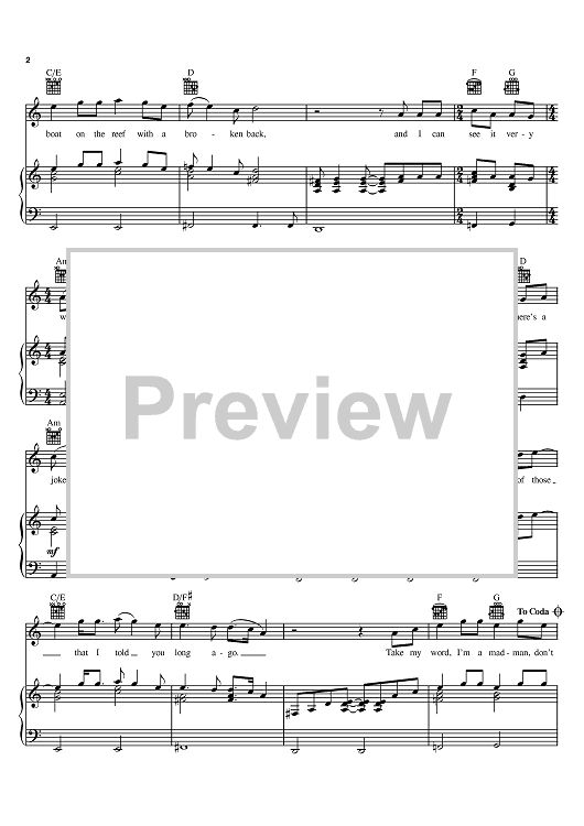 Madman Across The Water Sheet Music Preview Page 2