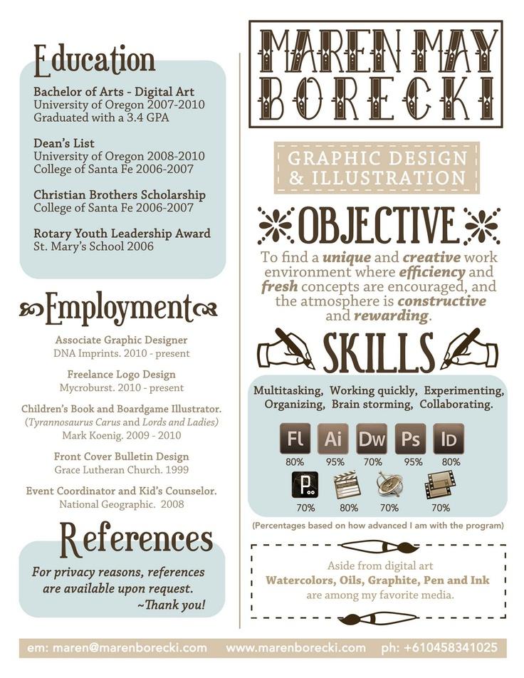 27 best p r o f i l e s ❅ images on Pinterest Creative - resume for graphic designer sample