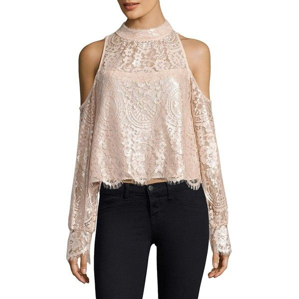 Nanette Lepore Dazzling Blouse ($358) ❤ liked on Polyvore featuring tops, blouses, long sleeve lace blouse, cold shoulder turtleneck, long sleeve lace top, long sleeve blouse and floral blouse