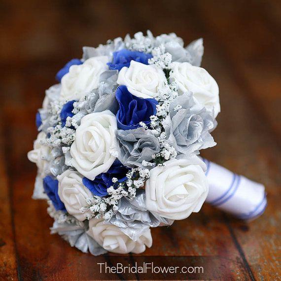 Bouquet da sposa sposa di seta blu e argento di TheBridalFlower
