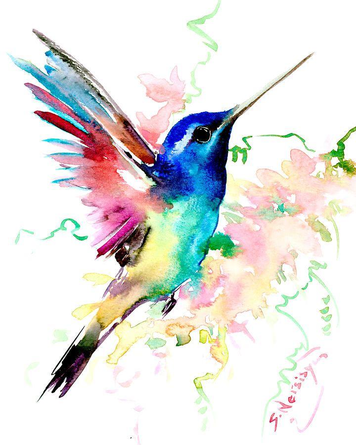 Halloween Painting - Flying Hummingbird by Suren Nersisyan
