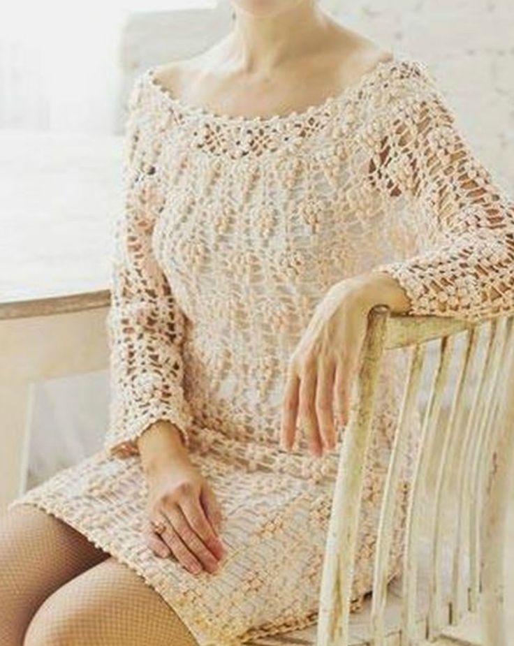 Vistoso Patrones Libres Vestido De Crochet Para Las Mujeres Imágenes ...