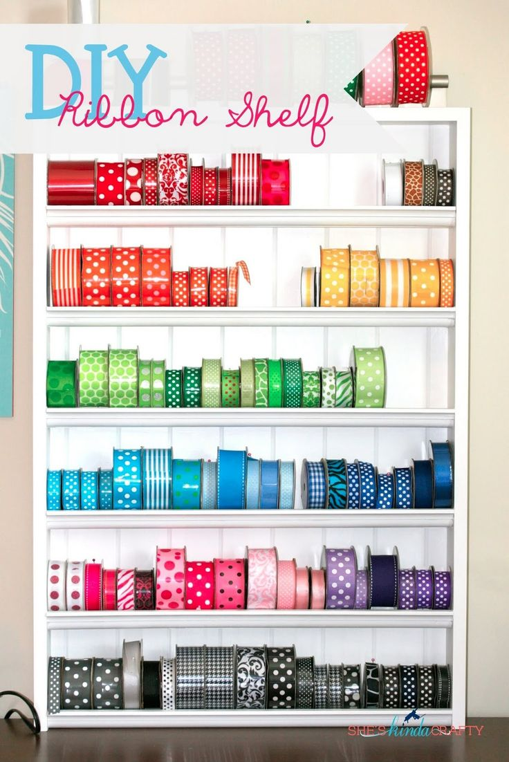 DIY Ribbon Shelf #RoyGBiv #ribbon #craftroom