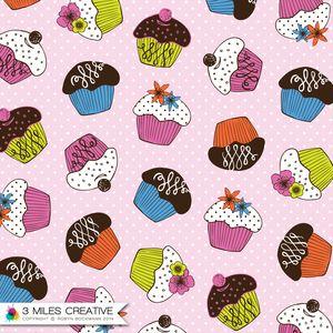 """Cupcake"" surface pattern / textile design by Robyn Bockmann COPYRIGHT 2014."