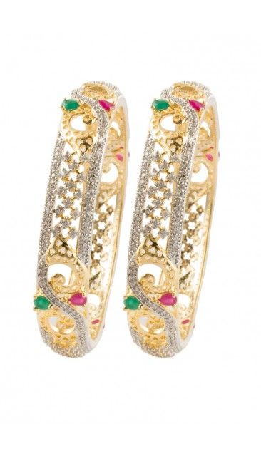 Traditional two toned colored Bangle with crystal embellishment - 80959