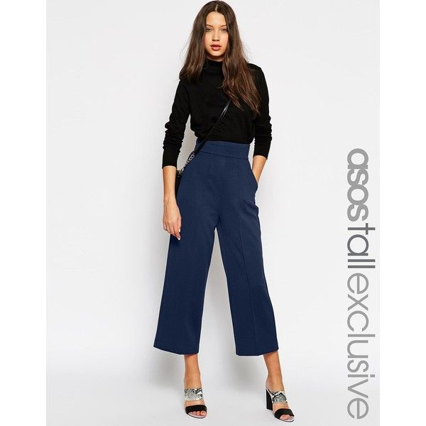 ASOS TALL High Waist Textured Wide Pant ($30) ❤ liked on Polyvore