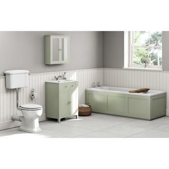 The Bath Co. Camberley sage low level furniture suite with straight bath 1700 x 700