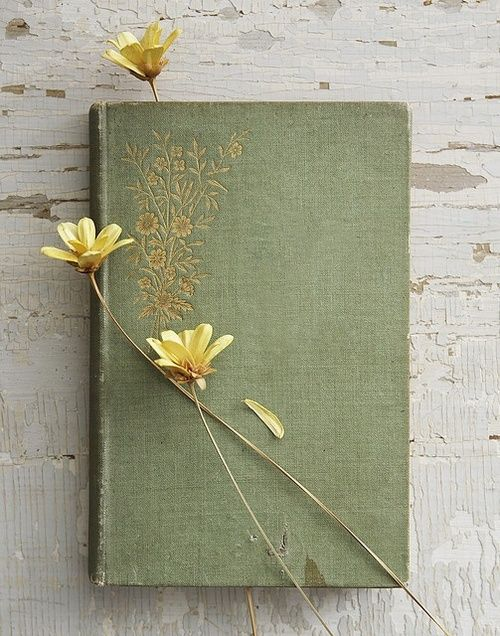 Still life book with flowers
