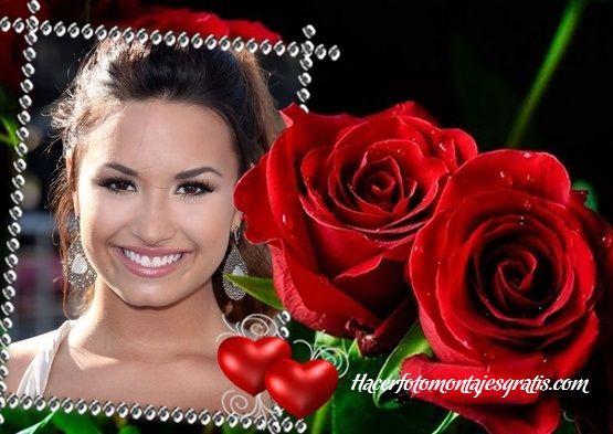Fotomontaje de rosas rojas y dos corazones | Hacer Fotomontajes Gratis