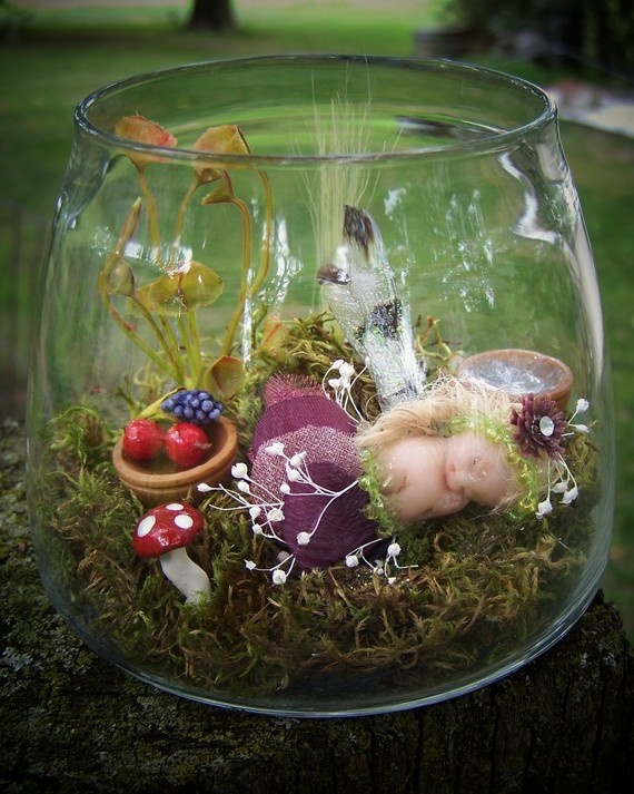 Miniature Fairy in a Jar Scene Captured Fairy Number 1 Anastaise the Sleep Fairy Layaway Available via Etsy