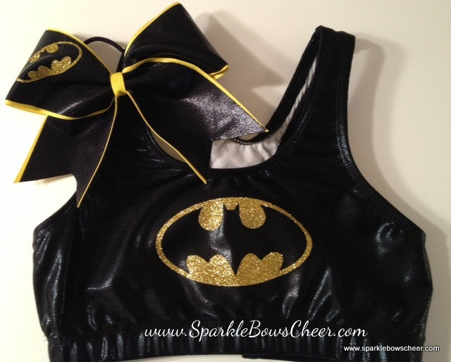 Batty Super Hero Metallic Sports Bra and Bow by SparkleBowsCheer. I want this!