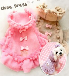 PUPPY COAT DRESSES pink and brown