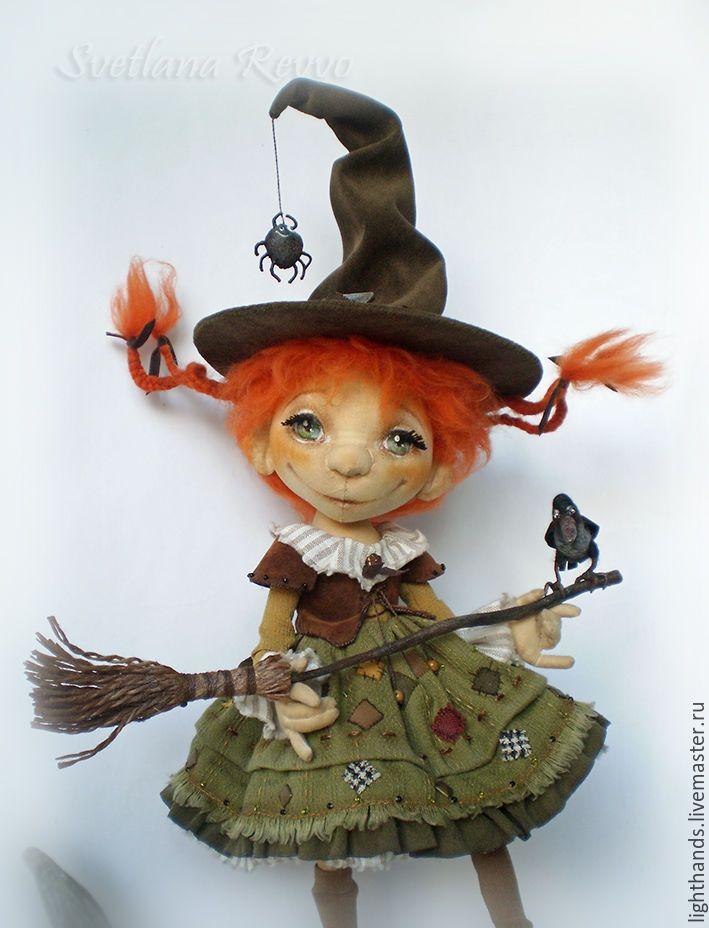 Осенняя ведьмочка Ханна. Коллекционная текстильная кукла