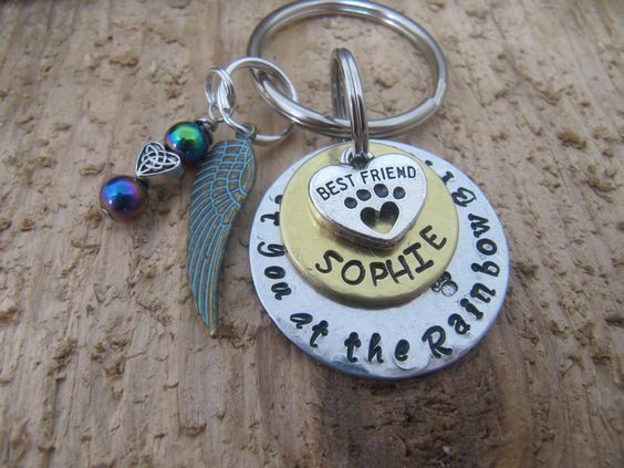 pet memorial key chain//Meet you at the Rainbow Bridge//dog memorial//cat memorial key chain//Rainbow Bridge//pet key chain//I will meet you by InTheQuiet on Etsy