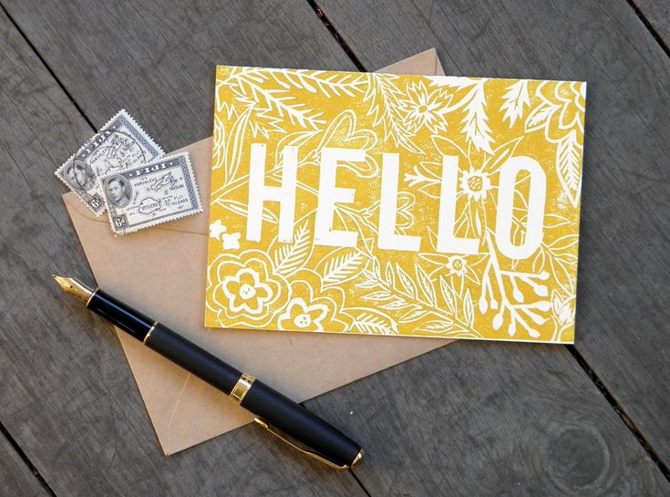 Linocut Hand Printed card - Hello. $6.00, via Etsy.    Great inspiration! Simple technique, but really great work.