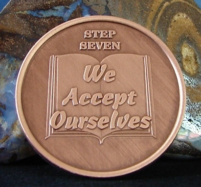 Solid Copper Alcoholics Anonymous AA Step 7 Medallion NA Narcotics Alanon WEND
