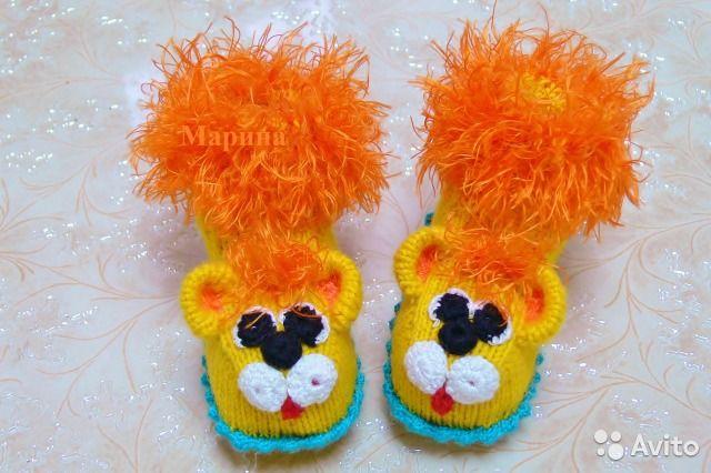 Новые вязаные пинетки носочки Львята— фотография №2