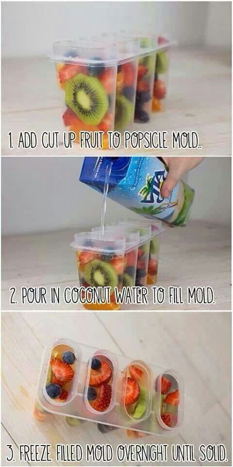 We love this popsicle idea! Try this at home & substitute Karma Wellness Water for the coconut water for added vitamins & nutrients!