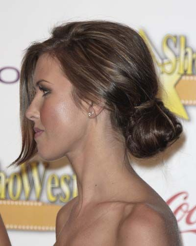 Audrina Patridges sexy low chignon knotted hairstyle
