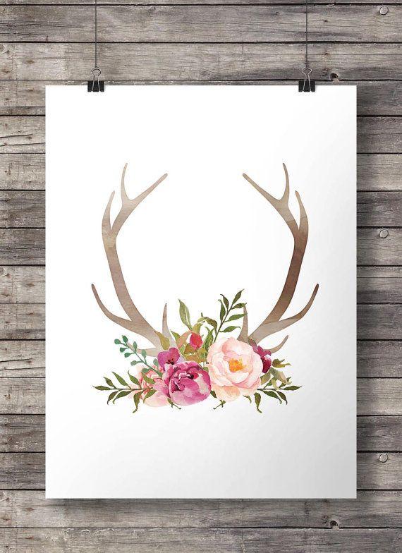 Watercolor Antlers and flowers print  - Printable Antlers wall art - digital print