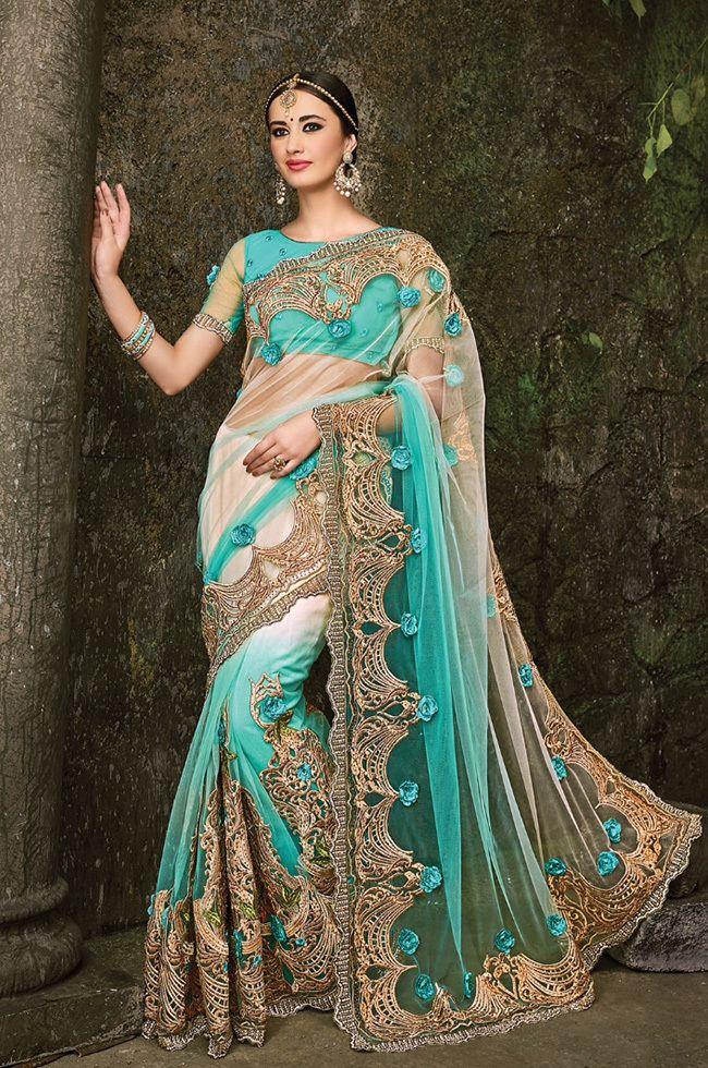Palkhi Inc - Sea Green Color Net Sari (S0476), $314.00…