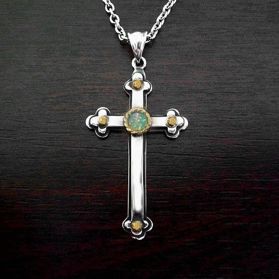 Mens silver crossmens cross necklaceopal gold crossopal