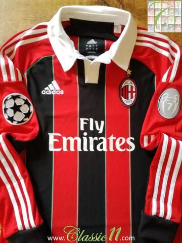 Original Adidas AC Milan home long sleeve football shirt from the 2012/2013 season. Complete with 7 times European Cup winners and Champions League patches on the sleeves.
