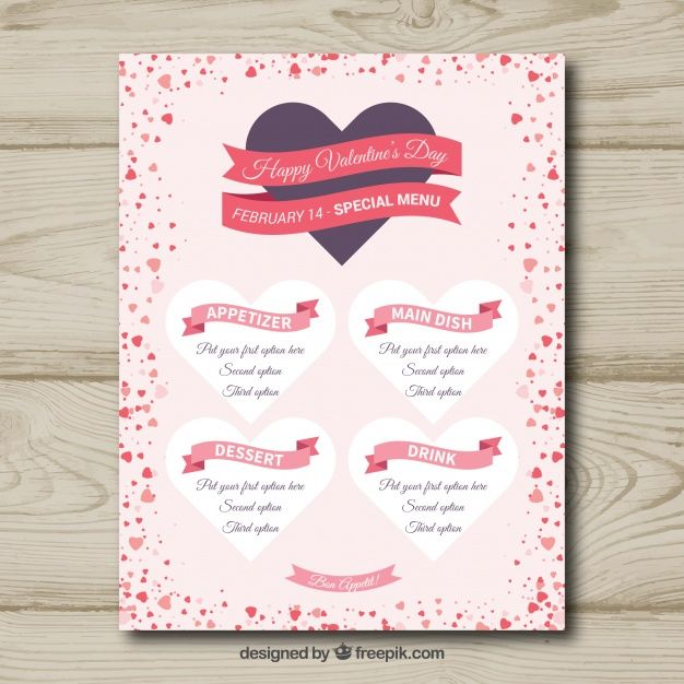 Valentine menu design with ribbons Free #Vector
