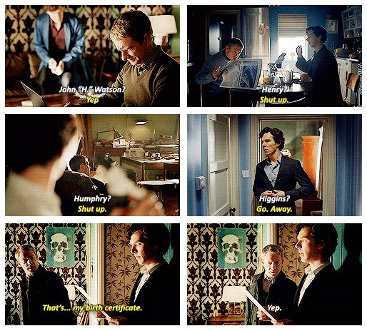 I love the fact that Sherlock was so obsessed with knowing John's middle name. XD