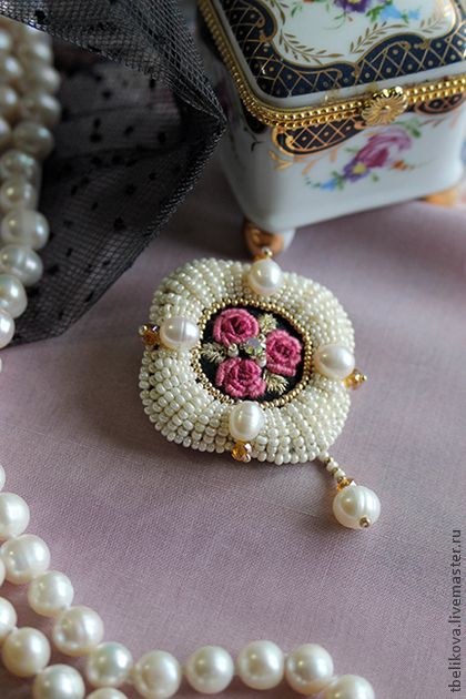 Bead embroidery surrounding stitched centerpiece. Inspiration for embellishing vintage crosstitch brooches.