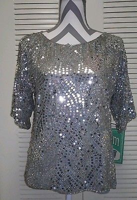 Vintage Mid Sleeve Silver Sequined Disco Flapper Blouse Beautiful:
